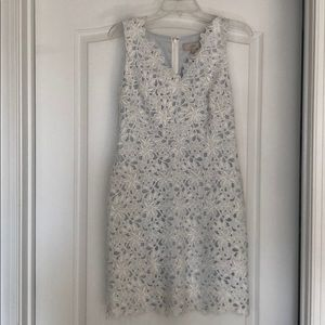 LOFT White Lace Dress with Blue lining.
